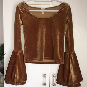 Gold Vevlet Bell Sleeved Top